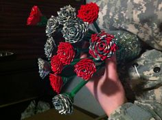 I made duct tape roses for my boyfriend :) I sprayed them with my perfume. Lol