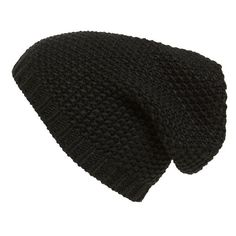Phase 3 Basket Knit Slouchy Beanie found on Polyvore featuring accessories, hats, black, black beanie, slouch hat, slouchy hat, knit slouch hat and black beanie hat
