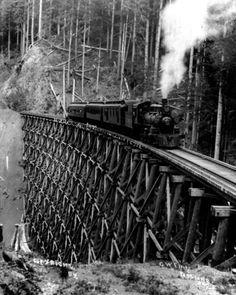 New Photo: Steam Engine Train Locomotive on Trestle Bridge, 1913 Train Pictures, Old Pictures, Old Photos, Old Steam Train, Railroad Bridge, Railroad Tracks, Bonde, Old Trains, Train Engines