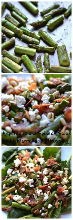 Asparagus and Spinach Salad with Warm Bacon Dressing - Wholesomelicious Spring Salad, Summer Salads, Spinach And Cheese, Spinach Salads, Asparagus Salad, Veggie Recipes, Salad Recipes, Warm Bacon Dressing, Best Side Dishes