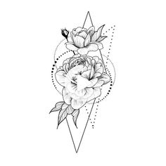 Roses in geometry Temporary Tattoo / Dots lines flash tattoo / Drawing flower Rosebud / Female Thigh tattoo Festival accessory Gift for Her - - Side Thigh Tattoos, Flower Thigh Tattoos, Rose Tattoos, Tattoo Flash, Tattoo Dots, Geometric Rose Tattoo, Art Rose, Tattoo Zeichnungen, Flower Tattoo Designs