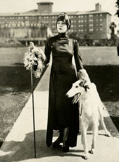 Madeline Hurlock, silent film actress, with her Borzoi