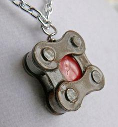 Fun pendant! bike jewelry pendant recycled Bicycle chain by WanderingJeweler,