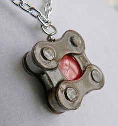 Fun pendant! bike jewelry pendant recycled Bicycle chain by WanderingJeweler,