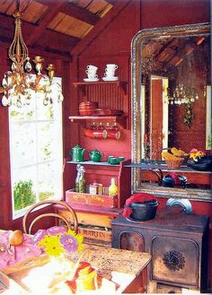 Rustic Bohemian Kitchen....I should use some mirrors on the walls for sure! Gotta drag that peanut shaped one out of the attic ;)