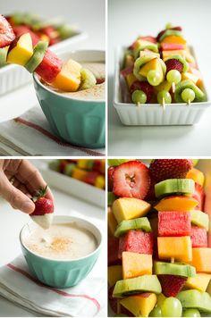 Creamy Cherry Pie Fruit Dip with Rainbow Fruit Kabobs