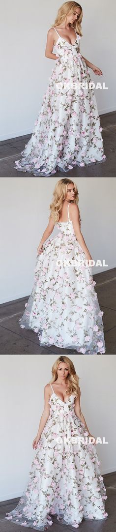 Charming Floral V-Neck Prom Dresses, Spaghetti Straps Backless Prom Dresses, KX900 #okbridal #promdresses #floralpromdress
