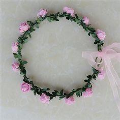 Women's Resin Headpiece-Wedding Wreaths 1 Piece Purple / Blue / Pink / Red / White Flower 5161310 2016 – $5.99