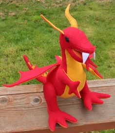 Fantastical Stuffed Fire Dragon Red Yellow by TheRoamingPeddlers