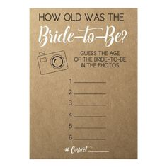 Shop Bridal Shower Game- Guess Bride's Age from Photo Invitation created by AestheticJourneys. Personalize it with photos & text or purchase as is! Bridal Shower Activities, Fun Bridal Shower Games, Bridal Shower Planning, Bridal Games, Unique Bridal Shower, Bridal Shower Party, Bridal Shower Checklist, Couples Wedding Shower Games, Couple Shower Games