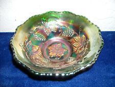 Fenton Carnival Glass Vintage Pattern Small Bowl  Green