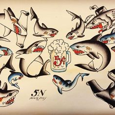 Sailor Jerry shark designs Sailor Jerry Flash, Dragon Tattoo Back Piece, Dragon Sleeve Tattoos, Traditional Tattoo Art, Traditional Flash, American Traditional, American Style Tattoo, Ma Tattoo, Justin Tattoo