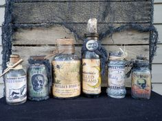 Vintage and New APOTHECARY POTION BOTTLES Set of 6 Glass Bottles Halloween Decor prop, hand-embellished Spooky Collectibles
