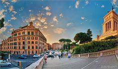 Italia, Roma (Italy, Rome, stairs from Capitolinus hill). Италия, Рим. Лестница с площади Капитолия. Справа - Витториано.