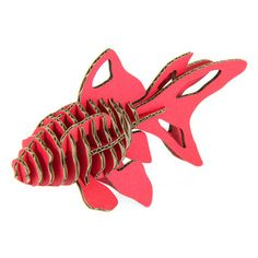 Fish Red, by by d-torso $32 {This realistic 3D animal is hewn out of cardboard in luscious laser-cut shapes}