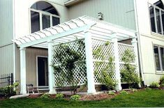 White Painted Pergola with Privacy Lattice (backyard covered patios privacy screens) Diy Pergola, Pergola Screens, Small Pergola, Pergola Attached To House, Pergola Swing, Deck With Pergola, Wooden Pergola, Backyard Pergola, Pergola Shade