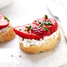In this healthy bruschetta recipe, the big, bold, salty, tangy flavor of blue cheese makes an unexpected but utterly delicious match with sweet juicy strawberries. This bruschetta recipe makes a quick, easy appetizer.