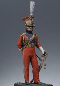 Imperial guard cavalry : Officer, red lancer of the Guard 1813
