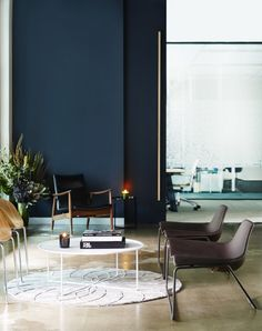 Gravity Coworking   Sydney Offices - love the inky colour on the wall