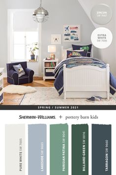 Tap this pin to find paint colors perfect for a growing kid's bedroom. Explore the entire @potterybarnkids Spring/Summer 2021 paint palette from Sherwin-Williams, then shop online to get the paint and supplies you need to complete that DIY painting project. #sherwinwilliams #DIY #decor #kidsbedroom #graybedroom #lovemypbk #pbkids #potterybarnkids #homedecor #painting #colorinspiration #renovation #paint #whitepaint #bluepaint #graypaint #greenpaint Playroom Paint Colors, Kids Bedroom Paint, Boys Bedroom Colors, Boy Room Paint, Bedroom Paint Colors, Paint Colors For Home, Playroom Mural, Pottery Barn Bedrooms, Room Color Schemes