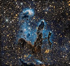 M16 Eagle Nebula, classification: Star-forming Nebula, position: 18h 18m, –13°, 49' (Serpens), distance from earth: 6,500 ly, instrument/year: WFC3/IR, 2014 #Hubble
