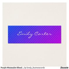 Purple Minimalist Blend Cursive Font Mini Business Card #hairstylist #makeupartist #beautysalon 3beautician #modern #minimalist #simple #chic #stylish #eventplanner #geometric #bold #fancytext #saturated #girlie #eyecatching #manicurist #cursivefont #cosmetology #dressdesigner #eventcoordinator #cursive #fancy #saturated