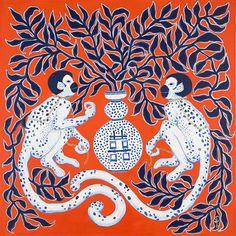 Blue and white monkeys on orange by Paige Gemmel