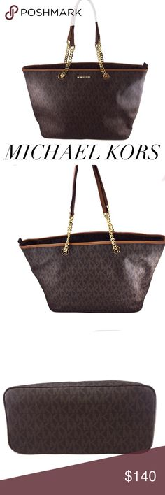 """Michael Kors Brown Signature Jet Set Travel Tote Get organized this spring and step into summer with style! This bag is the perfect size for work or play and everyday!!! Could be used for a laptop in the center zipper pocket. Gold accents- Opens to two compartments separated by a large zipper pocket with another slip in pocket on inner liner - 4 small pocket 1 zipper pouch & a key lasso - has a 10"""" L drop handle - bag measures 14.5 inches wide by 11.5 inches high by 7 inches depth - zip snag…"""