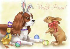 Paaskaart met hondje konijn en eendje - Paaskaarten - Toki Designs
