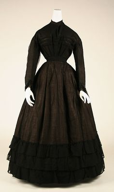 Mourning dress Date: ca. 1867 Culture: American Medium: cotton, silk