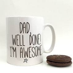 A minimalist Father's Day gift mug with funny slogan, to give your Dad a laugh this Father's Day! This basic white ceramic Father's Day gift mug, is a contemporary way to thank your great Dad and giv. Fathers Day Cake, Fathers Day Mugs, Fathers Day Quotes, Mug Papa, Dad Mug, Funny Gifts For Dad, Daddy Gifts, Gifts In A Mug, Gifts For Him
