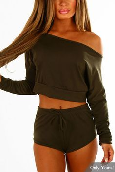 7a82a237ea2d1f Army Green Long Sleeves Casual Two Piece Set - US 19.95 -YOINS