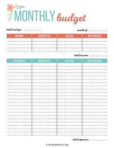 Free Budget and Financial Planning Printables – The Coupon Project – Finance tips, saving money, budgeting planner Monthly Budget Printable, Budget Planner Template, Monthly Budget Planner, Sample Budget, Free Planner, Planner Inserts, Happy Planner, Free Printables, Financial Budget