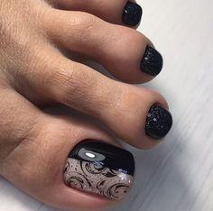 Christmas Nail Designs - My Cool Nail Designs Black Sparkle Nails, Sparkle Nail Polish, Gel Polish, Pretty Toe Nails, Cute Toe Nails, Toe Nail Color, Toe Nail Art, Hair And Nails, My Nails