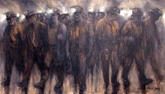Welsh miners - painting by Valerie Ganz