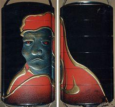 Case (Inrô) with Head of Daruma  Period: Edo period (1615–1868) Date: 19th century Culture: Japan Medium: Lacquer, roiro, gold, silver, red hiramakie, takamakie, nashiji; Interior: nashiji and fundame