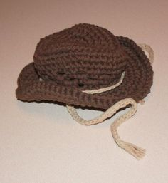 Cowboy Hat - Crochet Chocolate Brown and Jute - Newborn, Infant, Toddler Sizes Available