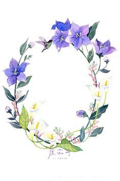 度薇年 温暖 水彩 手绘 插画 花环 植物