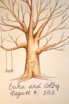 Wedding Guest Book Tree. Original thumb print Water Color Illustration- Custumize. $60.00, via Etsy.