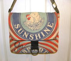 Hubbards Sunshine Chicken feed sack upcycled by LoriesBags on Etsy