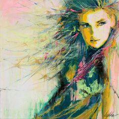 Je vois une femme. Des couleurs vives et des lignes qui ne sont pas toutes de la même forme et qui ne vont pas toutes dans le même sens. l'expression sur le visage de cette femme m'intrigue. Je ressent aussi de la surprise car a chaque fois que je regarde l'image je vois des choses ou des détails que je n'avait pas vue avant.
