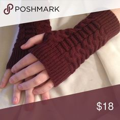 So Easy Fingerless Gloves/mittens Keep your hands warm while still having the dexterity of your fingers. Wine colored. Acetate/cotton Accessories Gloves & Mittens