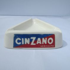 Glass Ashtray, Triangle,  Midcentury modern, Advertising For Cinzano Vermouth, Wonderful Collectors Item and Home Decore