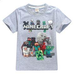 Великий хлопчик новорічний мультфільм Minecraft Друк Т рубашка для дівчаток  Трійник Одяг Дитячі літні футболки Костюм cf0440fb64255