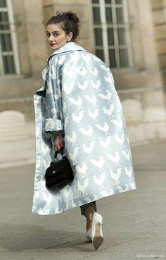 Light blue coat, rooster prints, white pumps, black hat, red lips / Garance Doré