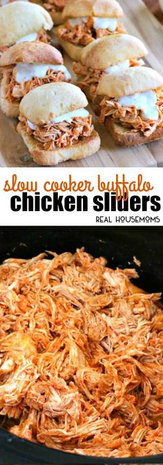 Slow Cooker Buffalo Chicken Sliders are an awesome way to feed a hungry crowd on game day! So easy to make and packed with chicken wing flavor everyone loves! via @realhousemoms