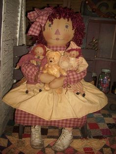 Primitive Raggedy Ann Doll ,Antique childrens dress,Antique baby shoes