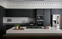 Living space & home interior design - Bailey Interior Design London Black Kitchen Cabinets, Black Kitchens, Luxury Kitchens, Kitchen Black, Luxury Kitchen Design, Interior Design Kitchen, Kitchen Designs, Kitchen Cornice, Interior Design London