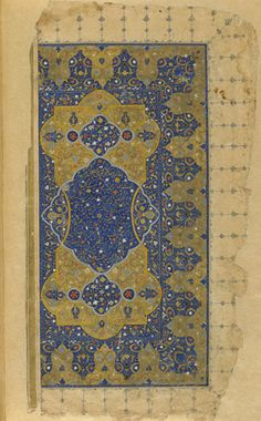 Folio from a Khamsa (Quintet) by Nizami (d.1209); frontispiece 1548 Safavid period Ink, opaque watercolor and gold on paper H: 30.9 W: 18.3 cm Shiraz, Iran Gift of Charles Lang Freer F1908.259.1-2 Freer-Sackler | The Smithsonian's Museums of Asian Art