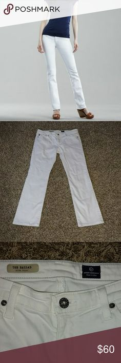 "AG Adriano Goldschmied Ballad White Slim Boot Jean AG Adriano Goldschmied Ballad Optic White Slim Boot-Cut Jeans. Size 30. Inseam 29"". Excellent Condition AG Adriano Goldschmied Jeans Boot Cut"